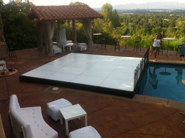 White Dance Floor Pool Cover Partial Dance Floor Pool