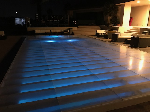 Coachella Afterparty Event Plexiglass Dance Floor Pool Cover Dance Floor Pool Cover Rental Plexi Glass Acrylic Hard Covers 818 636 4104